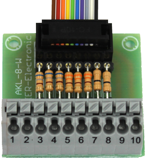 Schakeluitgangen met plugbare weerstanden voor SFR-1