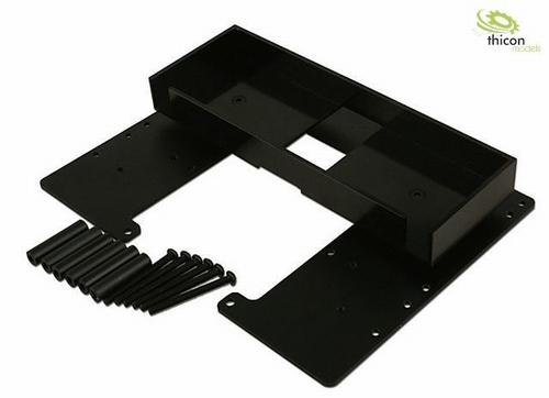 Bodemplaat met batterijvak aluminium zwart