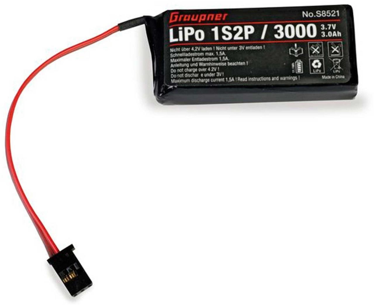 Graupner Senderakku LiPo 1S2P / 3000 TX 3,7V voor MZ-12