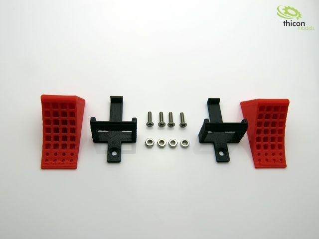 Wielblokken rood met houder zwart