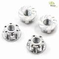 Moeren M4 zilver aluminium (4 stuk) 4 stuks